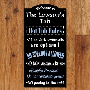 Picture of Personalised Hot Tub Rules Hanging Plaque
