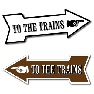 Picture of TO THE TRAINS Arrow RAILWAY STATION TRAIN Direction Sign