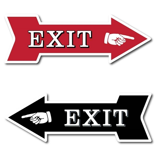 Picture of EXIT Sign WAY OUT Arrow Plaque