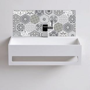 Picture of Grey Vintage Tile Basin Splash back