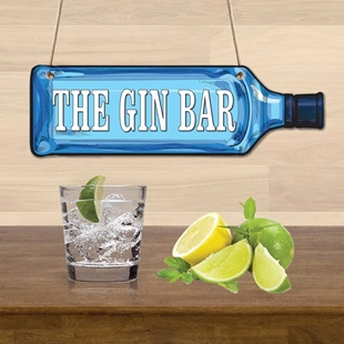 Picture of Gin Bottle Shaped Bar Sign