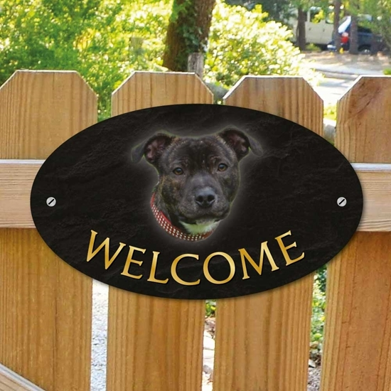Picture of Staffordshire Bull Terrier WELCOME Sign