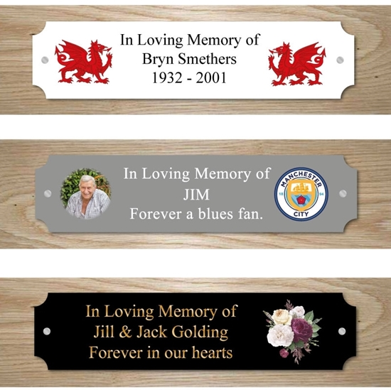 Picture of Outdoor Memorial Bench Plaque with picture