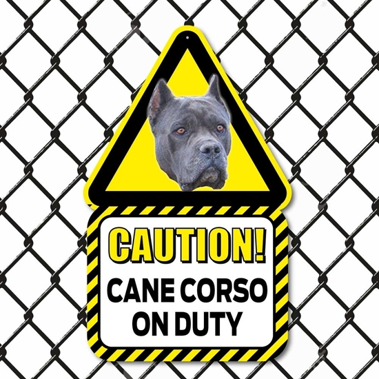 Picture of Blue Cane Corso On Duty Dog Sign