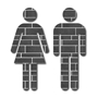 Picture of Grey Tile Man & Woman Toilet Door Symbols