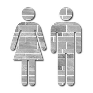 Picture of Grey Tile Man & Woman Toilet Door Symbols