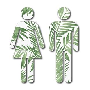 Picture of Green Leaf Design Man & Woman Toilet Door Symbols