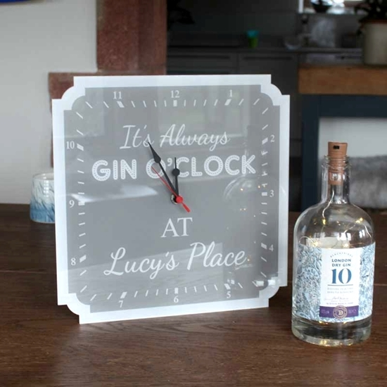 Picture of Personalised Gin O'clock Wall Clock Home Bar Gin Clock