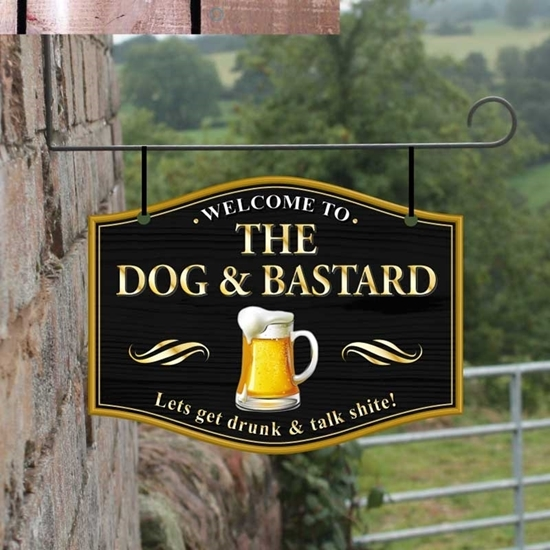 Picture of The Dog & Bastard Home Bar Hanging Pub Sign