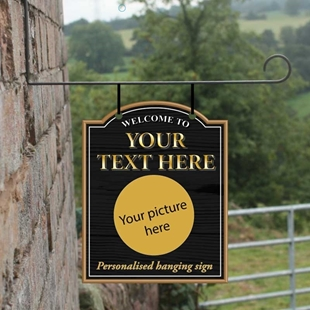 Picture of Personalised Traditional Hanging  Bar Sign  Add you Own picture