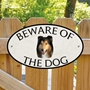 Picture of Tri-colour Rough Collie Beware of The Dog Sign