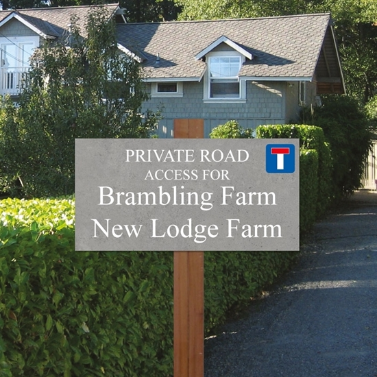Picture of Slate Effect Sign on Wooden Post