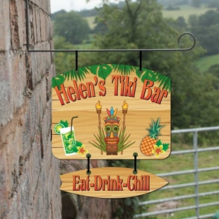 Picture of Personalised Tiki Bar Hanging  Bar Sign