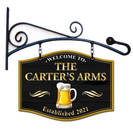 Picture of Large Pub Sign With Curved Hanging Bracket