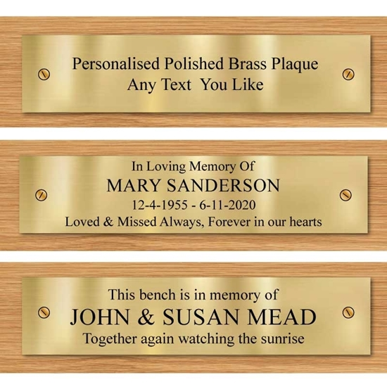 Picture of Solid Brass Engraved Bench Plaque