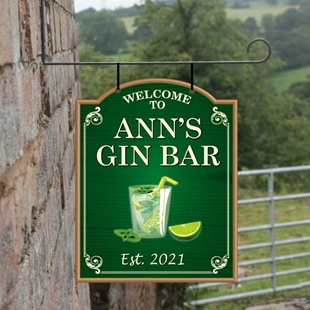 Picture of Personalised Gin Bar Hanging  Outdoor Bar Sign