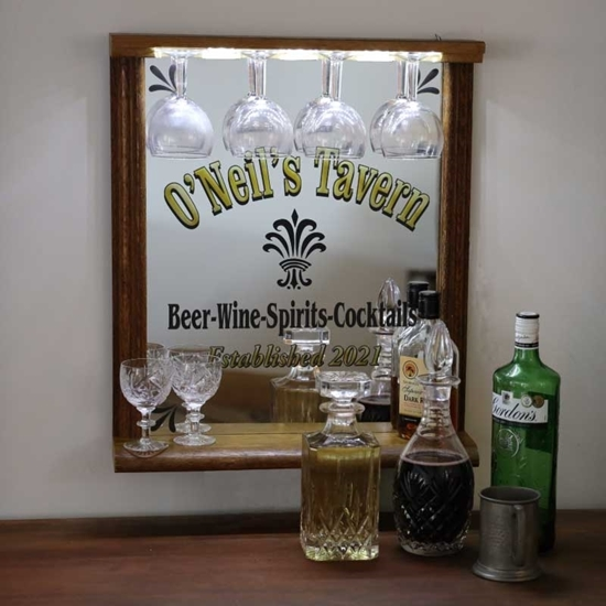 Picture of Oak Wooden Home Bar and Mirror