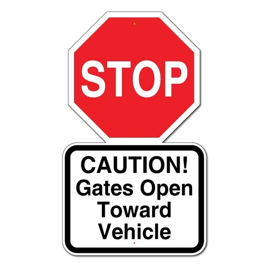 Picture of Stop Gates Open Toward Vehicle Sign