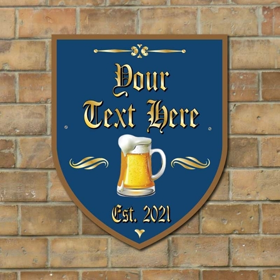 Picture of Shield Shaped Personalised Home Bar Wall Sign