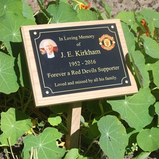 Picture of Outdoor Photo Memorial Plaque with photo on OAK PLINTH &STAKE