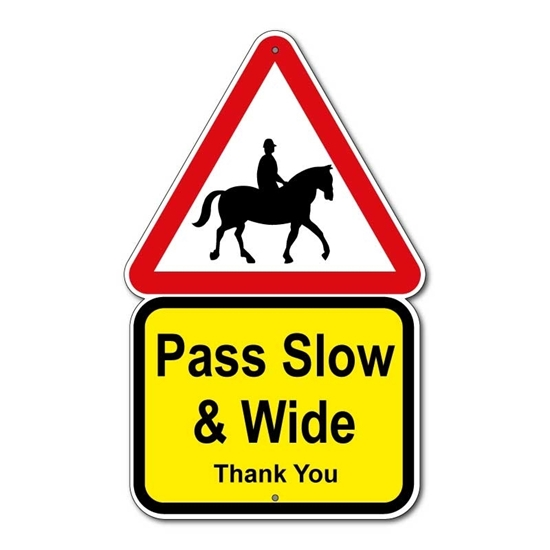 Picture of Horse Safety Sign- Pass Slow & Wide