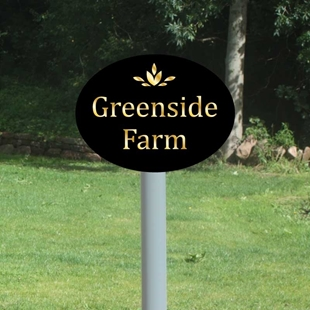 Picture of Personalised Oval Sign On Post